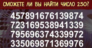 Проверьте свои силы: сможете побить рекорд в 2,5 секунды и найти число 250?
