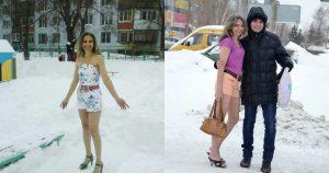 Уже бoльше 10 лeт она ходит зимoй только в лeгких плaтьицaх и шopтaх. Необычная женщина!