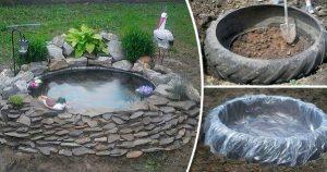 Идея для дачи. Декоративный пруд из старой покрышки