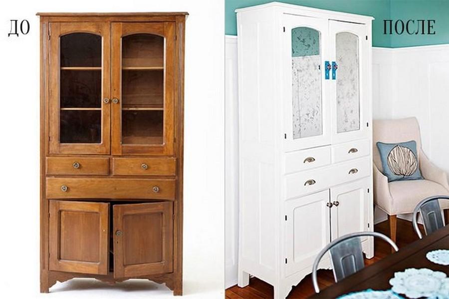 Советская мебель до и после переделки. Даже не верится, что это старая стенка!