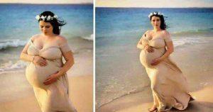 Эта женщина просто фотографировалась беременной на фоне океана