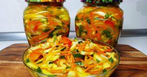 Необыкновенно вкусная закуска из кабачков и огурцов на зиму