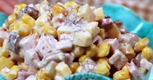 Салат Минутка с грибами: всего 4 ингредиента